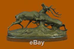Signed Bronze Statue Reindeer Deer Hunter Elks Detailed Sculpture On Marble Base