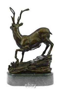 Signed Bronze Villanis Buck Male Renne Hunting Cerf Sculpture Marble Base Figurine