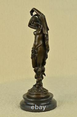 Signed Chair Woman With Bronze Angel Statue Art Deco Hot Iron Marble Figurine