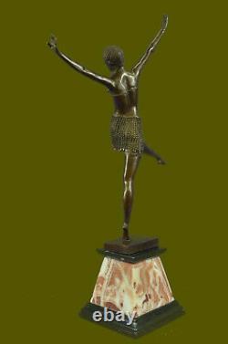 Signed Chiparus Charming Bronze Dancer Marble Statue Sculpture 24 Figure