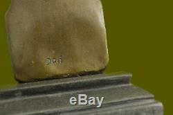 Signed Dali Abstract Female Bronze Marble Base Figurine Fonte Decor