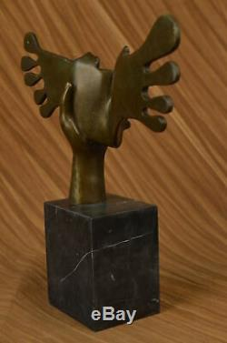 Signed Dali Abstract Female Sunshine Bronze Sculpture Marble Base Figure Decor