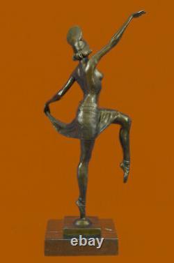 Signed Decor Russian Dancer Art Deco Bronze Sculpture Marble Base Statue Figure