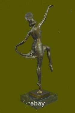 Signed Decoration Russian Dancer Art Deco Bronze Sculpture Marble Base Statue Sale