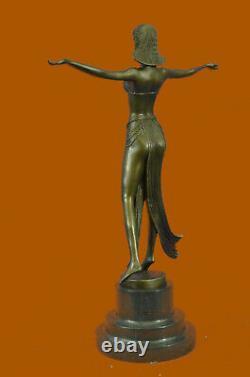 Signed Descomps Suit Dancer Bronze Marble Sculpture Font Figurine Decor Nr