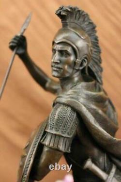 Signed Drouot Romain Legion Soldier Soldier Bronze Warrior Marble Sculpture Statue Decor