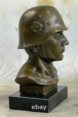 Signed Fisher German Soldier Warrior Bronze Marble Sculpture Statue Figure
