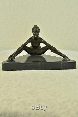 Signed Flesh Erotic Woman Figurine Statue Sculpture Bronze Marble Art Deco