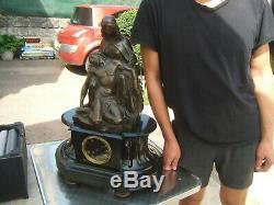 Signed Former Pendulum Bronze Marble Statue James Pradier 1790-1852 Pieta