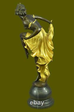 Signed Gold Patine Art Deco Bronze Sculpture By A. Gory New Marble Figure