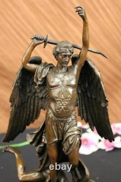 Signed Good Carpeaux Vs Evil Angel Strikes Bronze Devil Marble Sculpture Statue