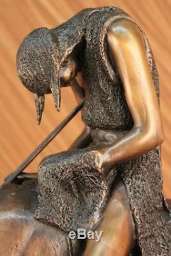 Signed J. Frazer American Indian Man On Horse Bronze Sculpture Marble Base
