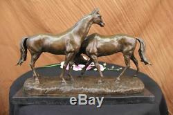 Signed L. Carvin Love Horses Bronze Sculpture Marble Base Figurine Decor