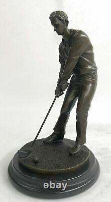 Signed M, Lopez Golf Golf Trophy Sport Bronze Sculpture Marble Base