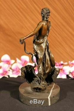 Signed M. Lopez Leda And The Swan Bronze Marble Statue Mythical Greek Decorative