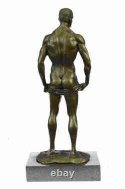 Signed Made Depict Of Chair Gay Male Bronze Sculpture Marble Figure Base