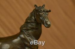Signed Mene 3 Standing Horses Marble Base Figurine Bronze Statue Balance
