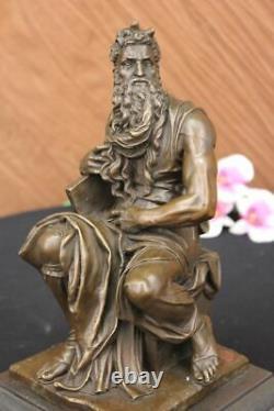 Signed Michelangelo Biblical Moses Bronze Sculpture Jewish Marble Figure Gift
