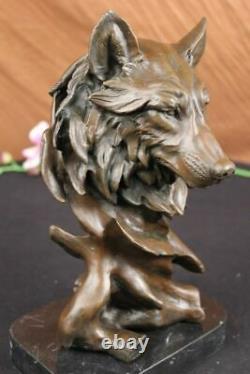 Signed Milo Sauvage Wolf Bronze Marble Bust Sculpture Statue Figure Art Deco