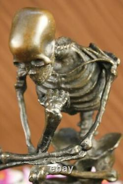 Signed Milo Skeleton Thinkker Tribute For Rodin Bronze Sculpture Marble Statue