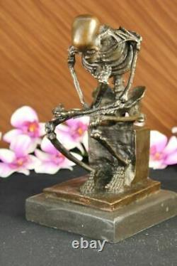 Signed Milo Skeleton Thinkker Tribute For Rodin Bronze Sculpture Marble Statue