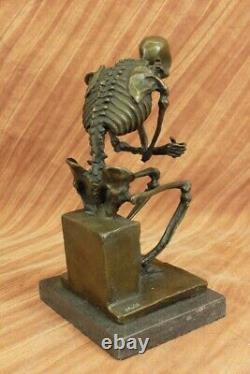 Signed Milo Skelette Thinkker Tribute For Rodin Bronze Sculpture Statue Marble