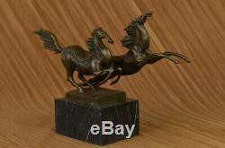 Signed Milo Two Race Horses Marble Base Figurine Art Bronze Statue