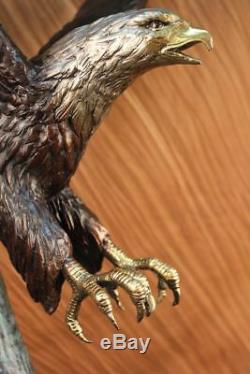 Signed Moigniez Large American Eagle Dark Base Towards Floor Marble Sculpture