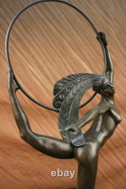 Signed Morante Bronze Dancer Sculpture Art Deco Marble Base