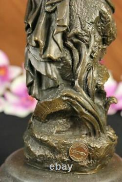 Signed Moreau, Bronze Statue Female Chair Angel Art Deco Marble Figure Decor