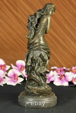 Signed Moreau Bronze Statue Female Flesh Angel Art Deco Marble Figurine Decor