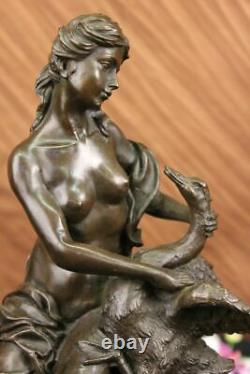Signed Moreau Leda And The Swan Bronze Marble Statue Mythical Greek Sculpture Nr