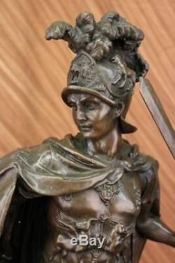 Signed Most Great Greek Warrior Bronze Sculpture Home Decor Large Marble