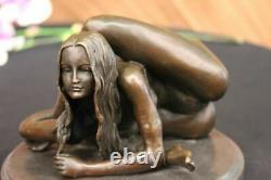 Signed Nu Erotic Woman Bronze Marble Figure Statue Sculpture Art Decor