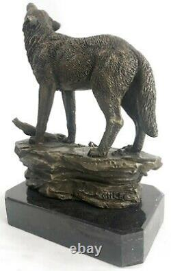 Signed Original Art Hurling Wolf At The Moon Bronze Sculpture Marble Base Figure