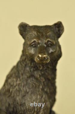 Signed Original Black Bear Mother West Art Bronze Marble Statue Sculpture Art