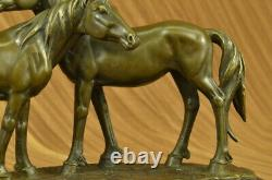 Signed Original Bronze Love Horses Sculpture Marble Base Figurine Home Decor