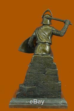 Signed Original Kamiko Japanese Samurai Warrior Bronze Marble Sculpture Heavy