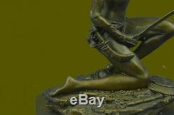 Signed Original Rigid Amazon Warrior Bronze Statue Marble Figurine