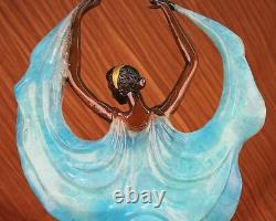 Signed Original Tango Dancer Blue Patina Bronze Marble Base Carving Hot Font