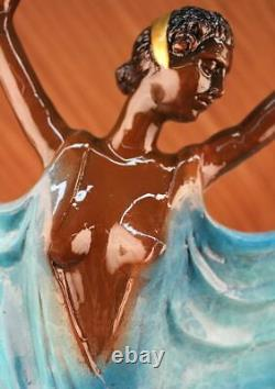 Signed Original Tango Dancer Patina Bronze Marble Base Sculpture Fonte Sale
