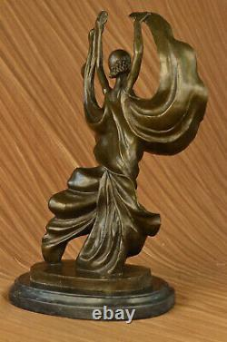 Signed Original Tango Special Dancer Bronze Patina Marble Base Sculpture Statue