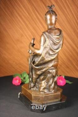 Signed Picault Romain Legion Soldier Soldier Bronze Warrior Marble Sculpture Statue Deco