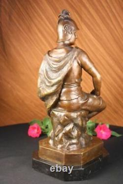 Signed Picault Romain Legion Soldier Warrior Bronze Marble Sculpture Statue Deco