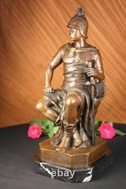 Signed Picault Romain Legion Soldier Warrior Bronze Marble Sculpture Statue Gift