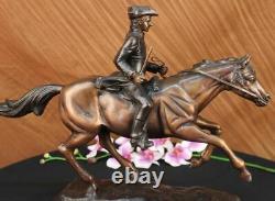 Signed Pj Mene Artisanal Bronze Soldier Horse Sculpture Marble Figure