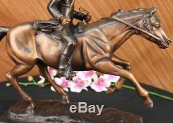 Signed Pj Mene Bronze Craft Soldier Horse Sculpture Marble Figurine Decor