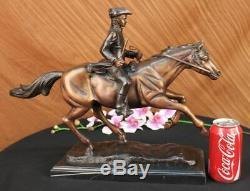Signed Pj Mene Bronze Soldier Horse Craft Marble Sculpture Figurine