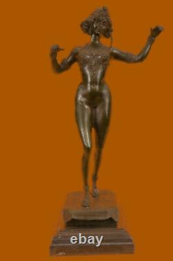 Signed Preiss German Sensual Sexy Woman Bronze Marble Statue Sculpture