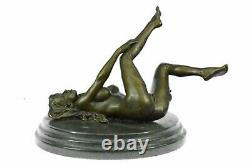 Signed Real Bronze On Marble Base Serre-books Sculpture Chair Girl Exposed